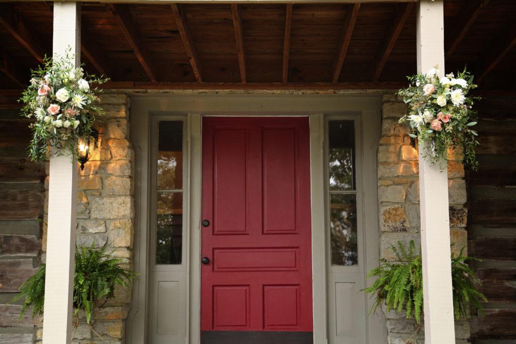 Door of the log cabin
